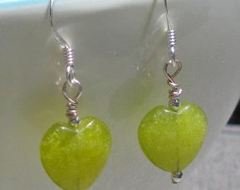 Light Green Jade Puff Heart single earring, green earrings, heart earrings, holiday earrings