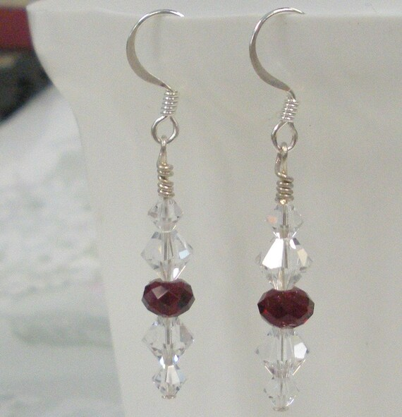 Peppermint drop Swarovski crytal earrings in red and clear crystal