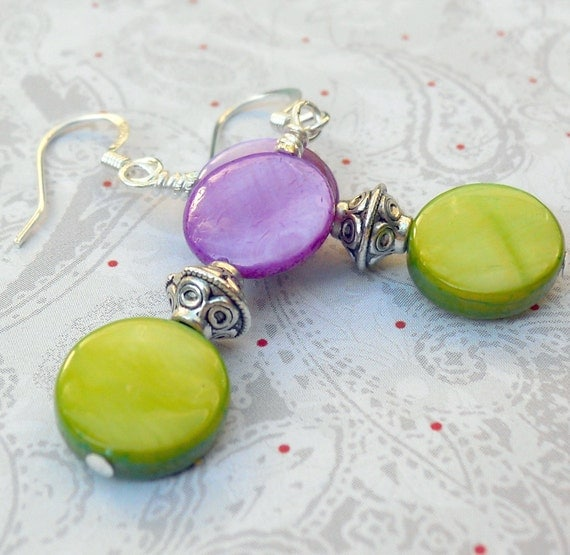 Paul Shell earrings in drop style with neon green and purple rounds