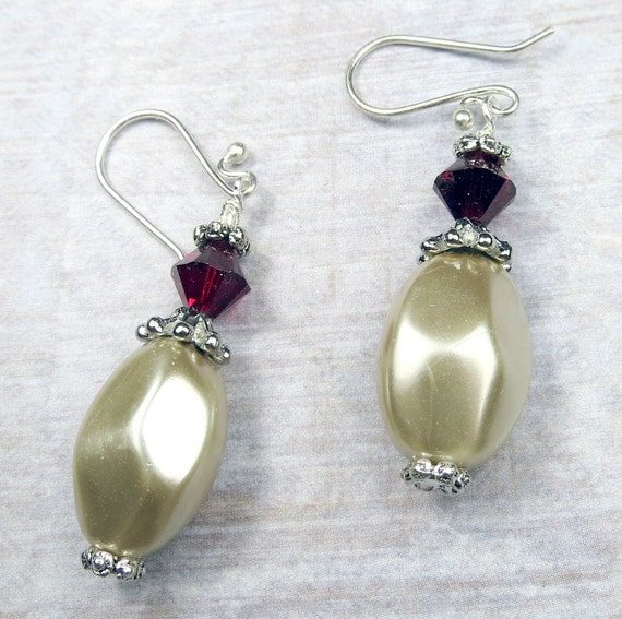 Gold Fresh Water Pearl with Red Swarovski crystal earrings