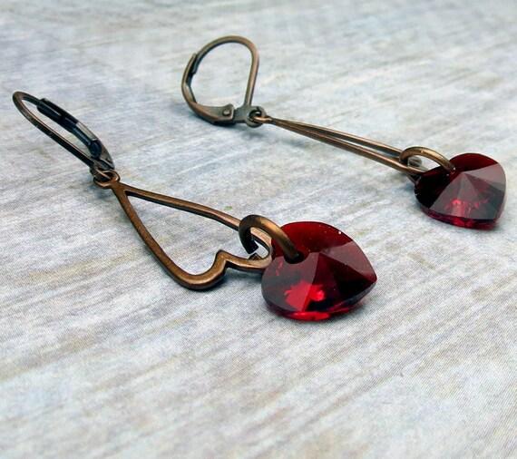 Copper open heart and Crystal Swarovski Dark Red heart earrings
