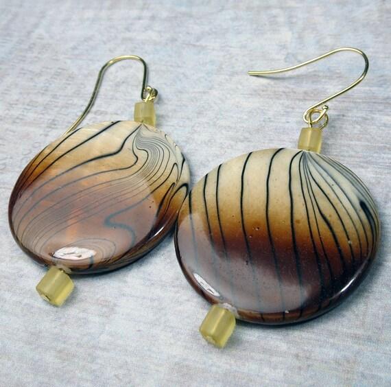 Big Brown Paua Shell earrings with cube seed bead