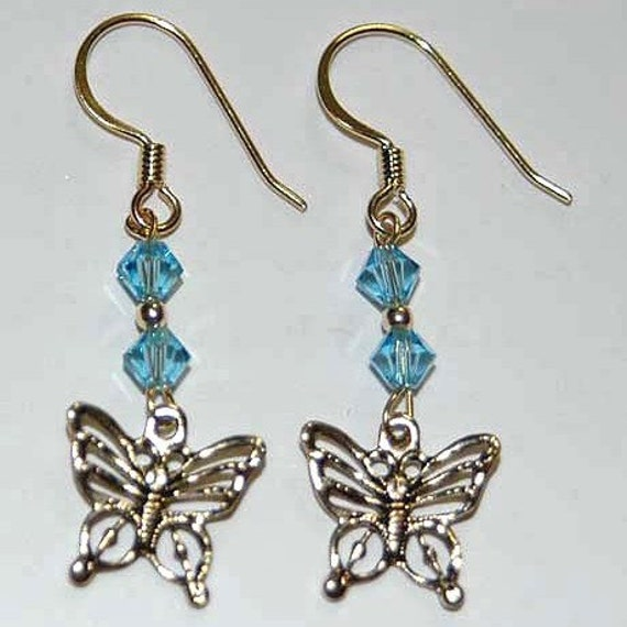 Swarovski Blue and gold Butterfly charm earring