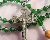 Sterling with Shamrocks Emrald Green Glass for the Irish Rosary