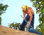 The Roofer, 8x10 Original Oil Painting of Working Man