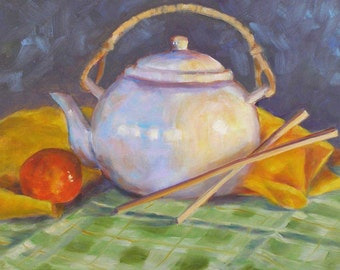 Original Oil Painting, Teapot with Chopsticks, 11 x 14  Framed Still Life on Canvas