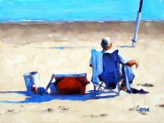 Sittin' and Fishin', 8x6 Original Oil Daily Painting