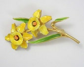 Vintage Enamel  Daffodil Flower Brooch  Large Gold Tone Yellow Green Orange