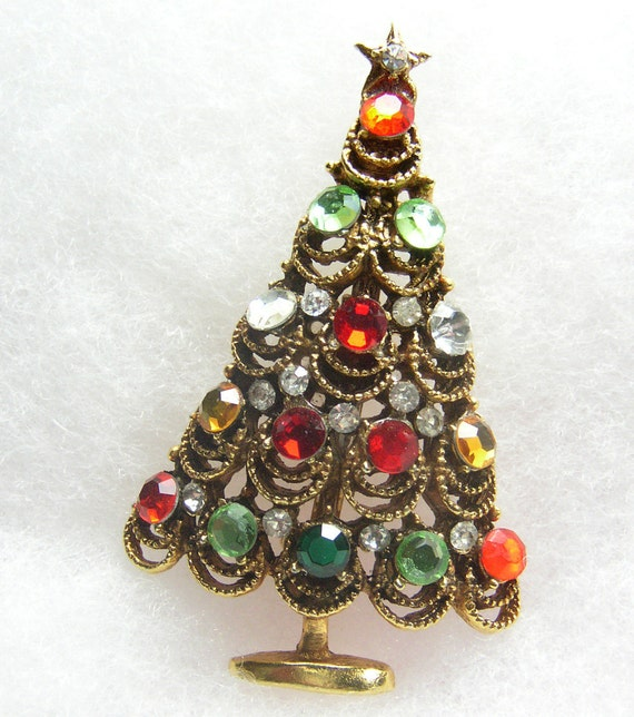 Christmas Tree Brooch Vintage Rhinestone Pin Lace  Style Crystal Gold Tone