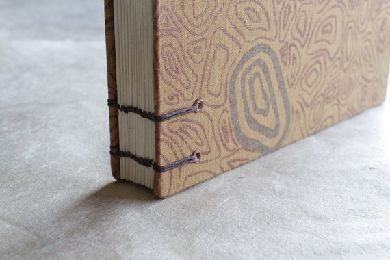 SALE 50% off! Gold Screen printed and Coptic Stitched Journal / Sketchbook