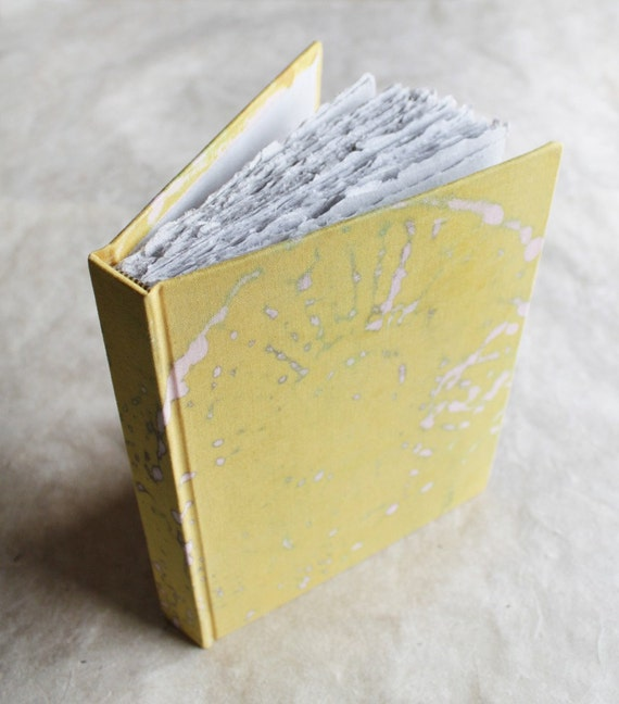 SALE 50% off! The Ruth - Yellow Doily Printed Journal with Handmade Recycled Paper