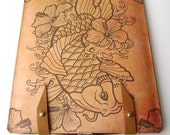 Leather iPad case- Tattoo Koi and Hibiscus Flowers