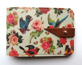 Leather card case/ Oyster card holder - Birds & Roses