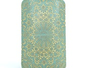 Leather iPhone 6 Case, iPhone 5s Case, Galaxy S5 Case - Teal lace / Brown back