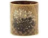Leather cuff, wallet cuff, wallet wristband - Japanese chrysanthemum