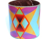 Leather cuff / wallet wristband - Geometric chevron native design