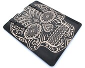 Leather new iPad case - Sugar Skull in Black