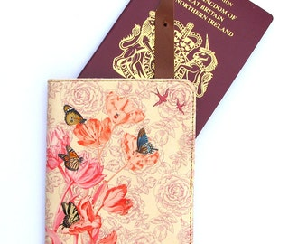 Printed Leather Passport Case - Springtime