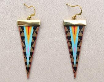 Leather Earrings - Geometric Triangles