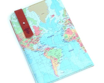 Leather Passport Case - World Map