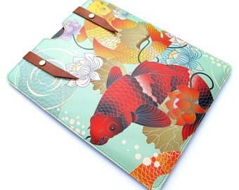 Leather iPad Air Case/ iPad Air 2 Case / Large Tablet Case - Koi and Lotus Flower Tattoo