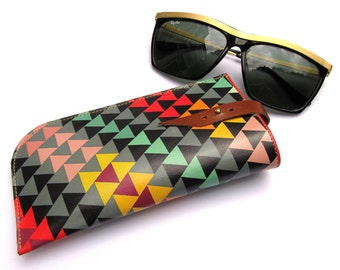 Sunglasses Case / Eyeglasses Case -- Geometric Triangles Design