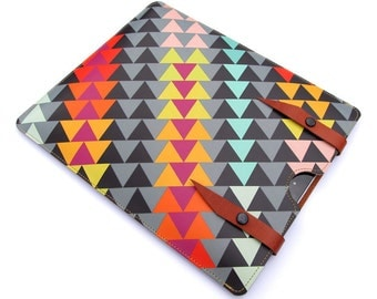 Leather iPad Air case / iPad 2 Case / tablet case - Geometric triangles