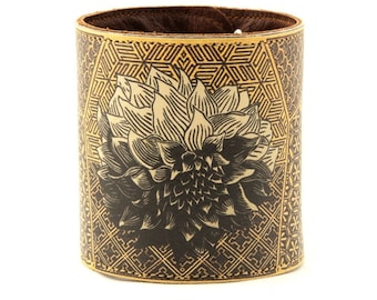 Leather cuff, wallet cuff, wallet wristband - Japanese chrysanthemum