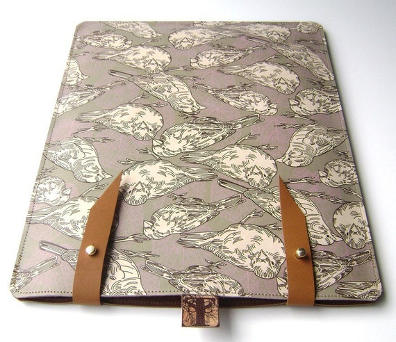 Leather iPad case- Sparrow and leaf Design