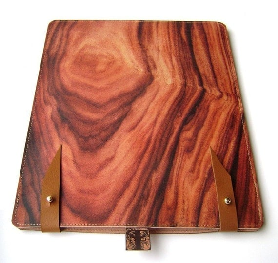Leather iPad or kindle dx case - wood design
