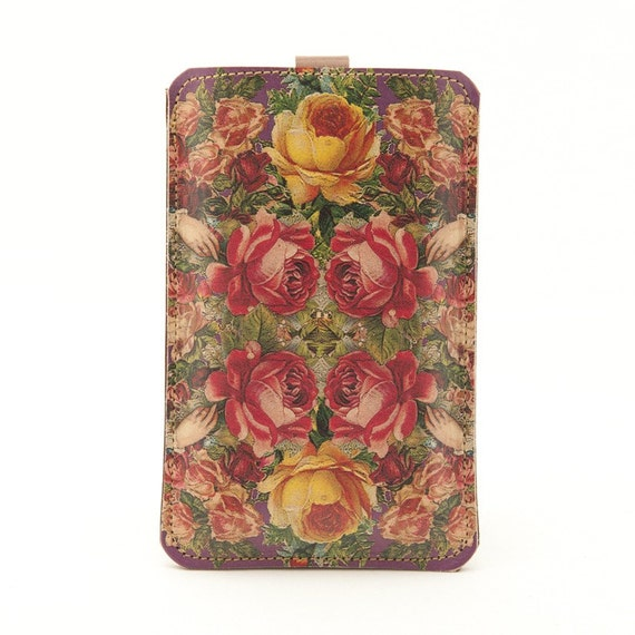 Leather iPhone (ALL), iTouch (ALL) case - Victorian roses