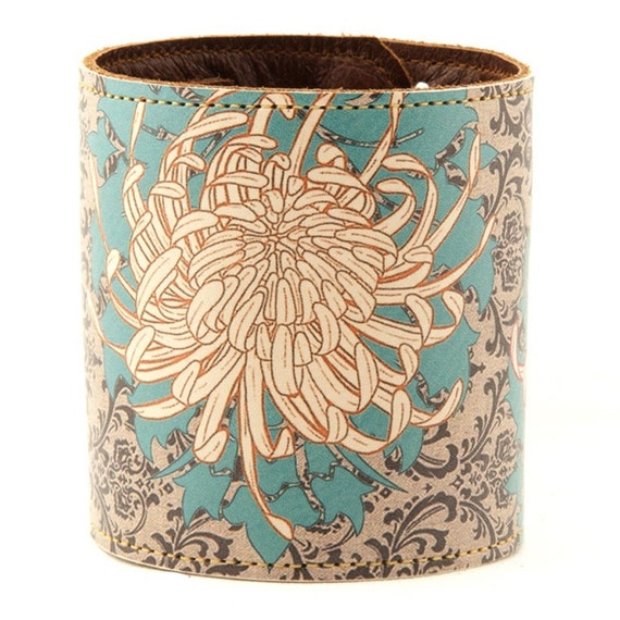 Leather cuff/ wallet wristband - Chrysanthemum