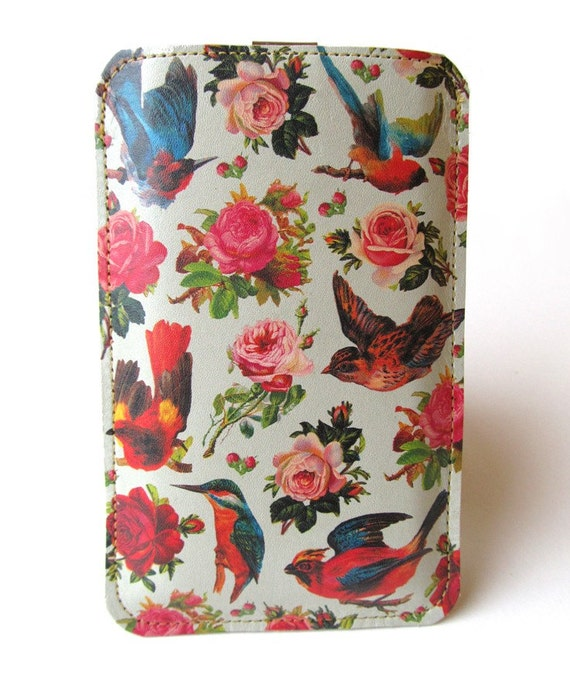Leather iPhone (All) iTouch (All) case Birds and Roses design