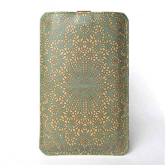 Leather iPhone/iTouch/HTC (Desire / Mozart)  Case - Teal Double Lace