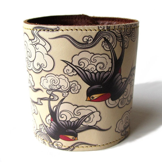 Leather cuff  -  Cherry blossom and Swallows