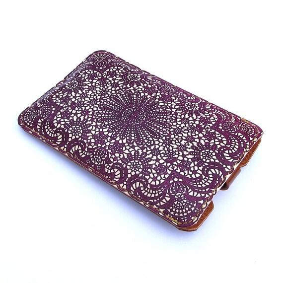 Leather iPhone Case - Purple Lace