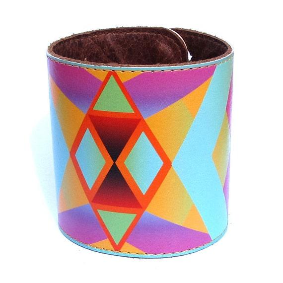 Leather cuff / wallet wristband - Geometric chevron native design