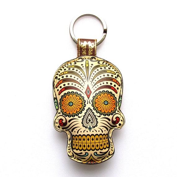 Leather keychain / key ring / bag charm - Sugar skull design