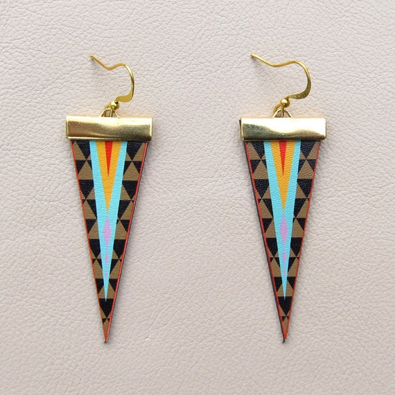 Leather Earrings - Geometric Triangles