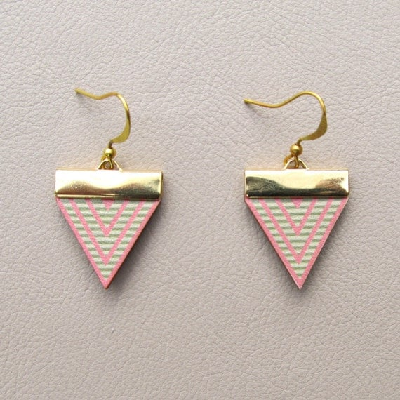 Leather Earrings - Pink Triangles with Mint Stripes