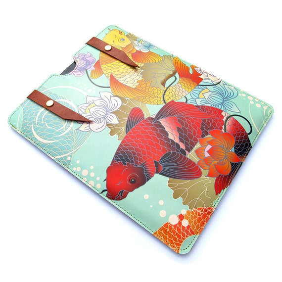 Leather iPad case - Koi and Lotus Flower Tattoo