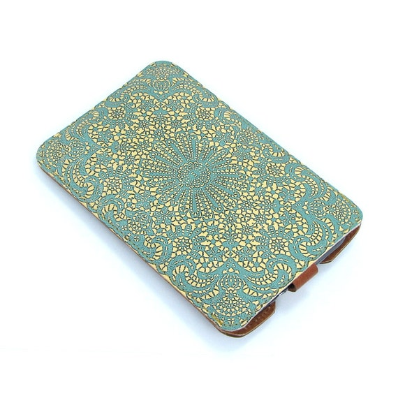 Leather Samsung Galaxy S2 / S3 Case - Teal lace