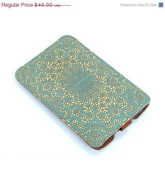 Leather Samsung Galaxy S2 / S3 / Note Case - Teal lace