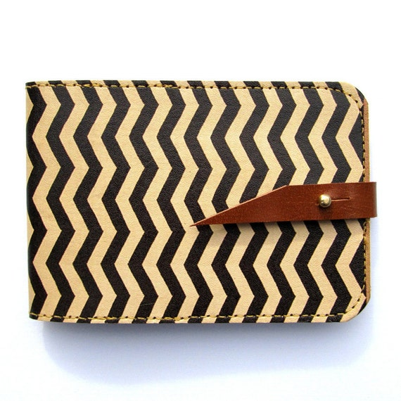 Leather card case/ Oyster card holder - Zig Zag - Chevron design