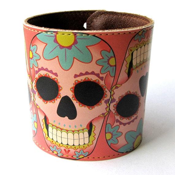 Leather cuff/ wallet wristband - Sugar skull tattoo design in pink