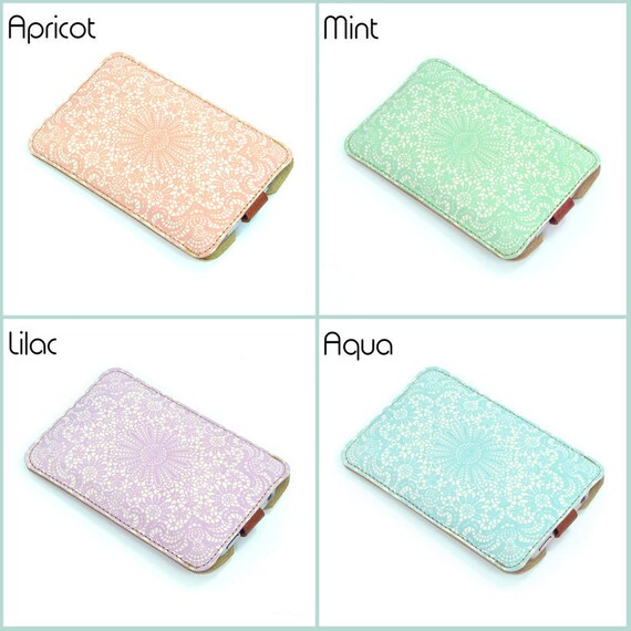 Leather iPhone case - Apricot, Aqua, Lilac or Mint Lace