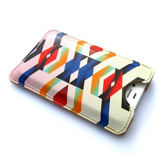 Leather iPhone 4 case / iPhone 4S Case - Chevron Navajo inspired design