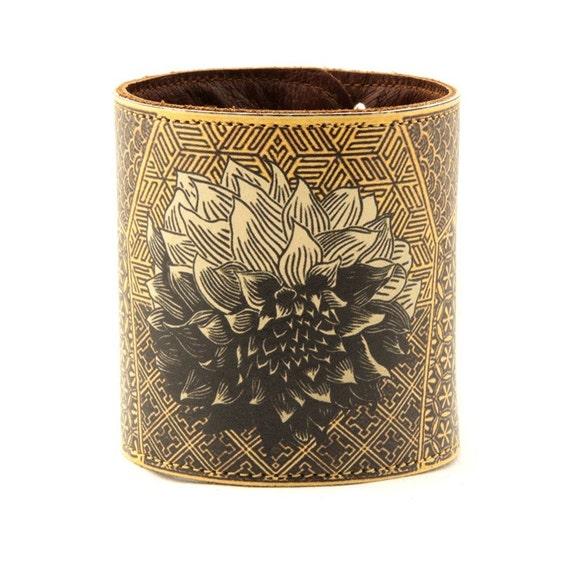 Leather cuff / wallet wristband - Japanese chrysanthemum