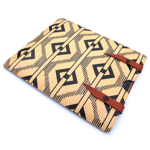 Leather iPad case iPad 3 / iPad 2 - 1900s Chevron design