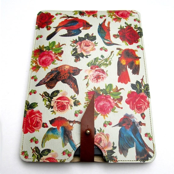 Leather Kindle Case - Birds & Roses